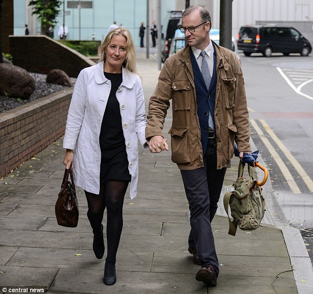 Katherine Simpson (pictured with her husband Jonathan) sent details of his antics with the woman to the victim
